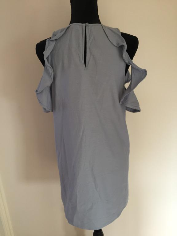 MISS SHOP 100% Cotton Casual Ruffle Sleeve Ophelia Dress in Blue | Size M