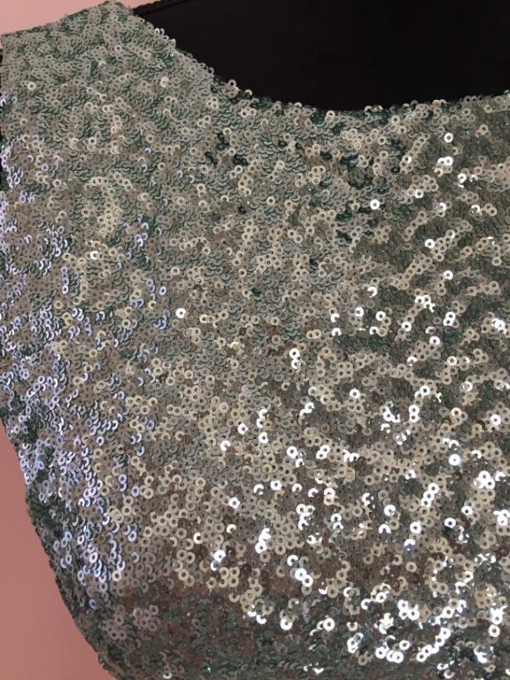 NEW TNC LONDON Green & Cream Sequin Dress   Size M
