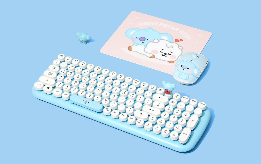 (PO) Official BTS BT21 x Royche Wireless Retro Keyboard