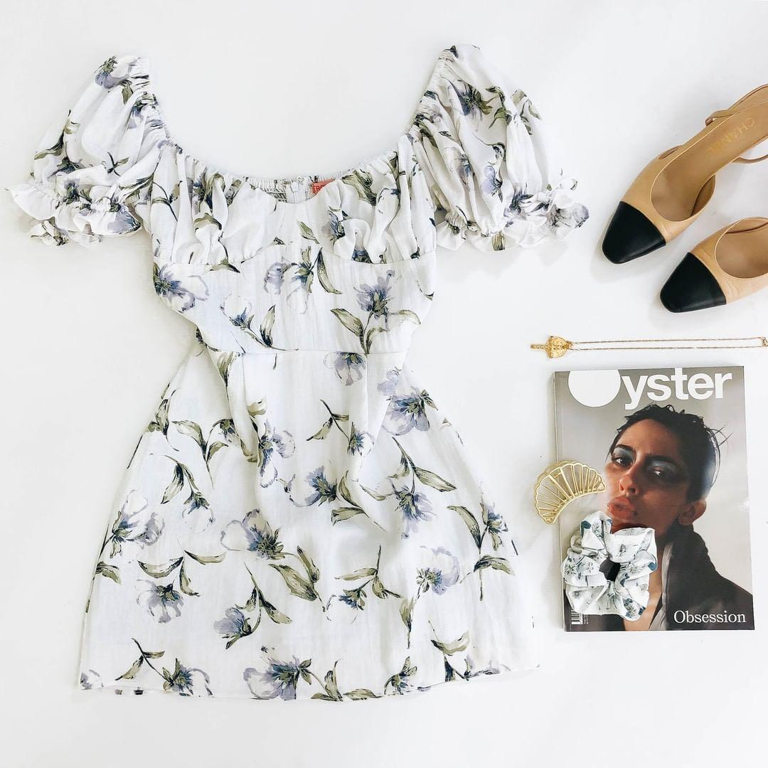 VERGE GIRL PUFFY SLEEVE FLORAL DRESS SQUARE NECKLINE