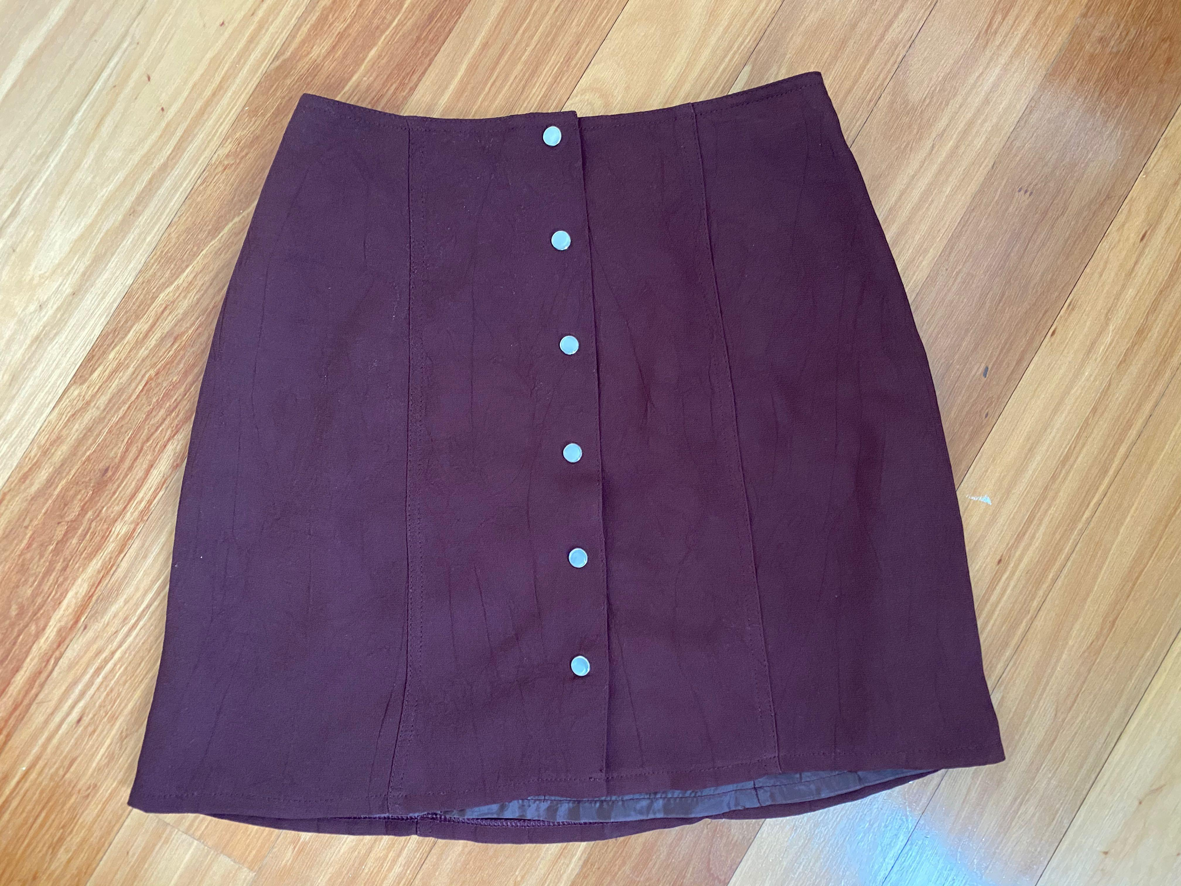 Vintage Maroon Straight Cut Skirt with Opalescent Buttons