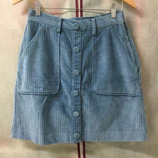 日系燈芯絨前排釦裝飾氣質可愛短裙