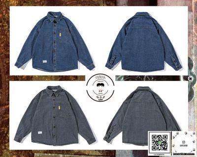 ❮❮誰合普UHF®❯❯ 美式復古 做舊牛仔 長袖襯衫  男女皆可 。2色(網路特賣價$1600)