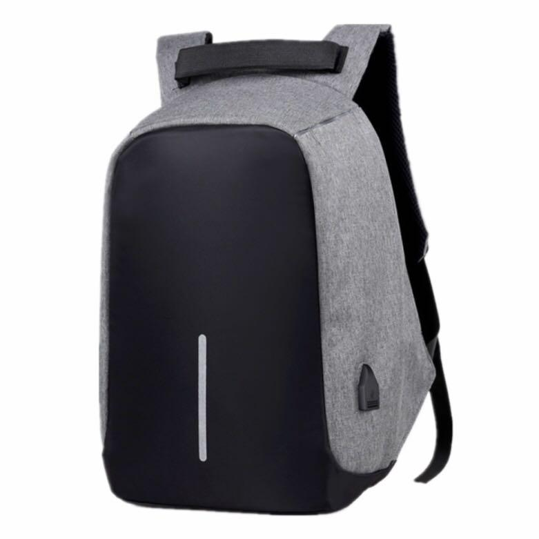 Anti Theft Backpack Waterproof bag With USB Charging (black and grey)