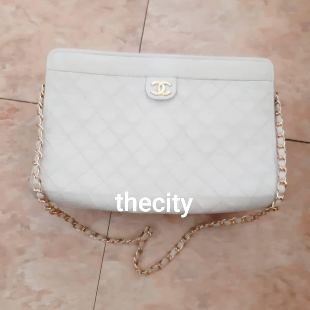 AUTHENTIC CHANEL BIG QUILTED LAMBSKIN LEATHER CLUTCH / POUCH BAG - CC LOGO DESIGN- CLASSIC TIMELESS VINTAGE SO NOT FOR FUSSY BUYERS - NEW MAGNET - WITH EXTRA ADD HOOKS AND LONG CHAIN STRAP FOR CROSSBODY SLING - HOLOGRAM STICKER INTACT-