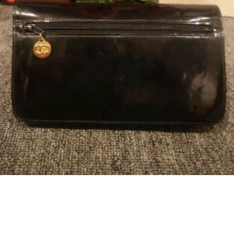 AUTHENTIC CHANEL SHINY BLACK PATENT LEATHER BIG ORGANIZER POUCH/ WALLET - CC LOGO DESIGN - HOLOGRAM STICKER INTACT- WITH EXTRA ADD HOOKS & LONG CHAIN STRAP FOR CROSSBODY SLING