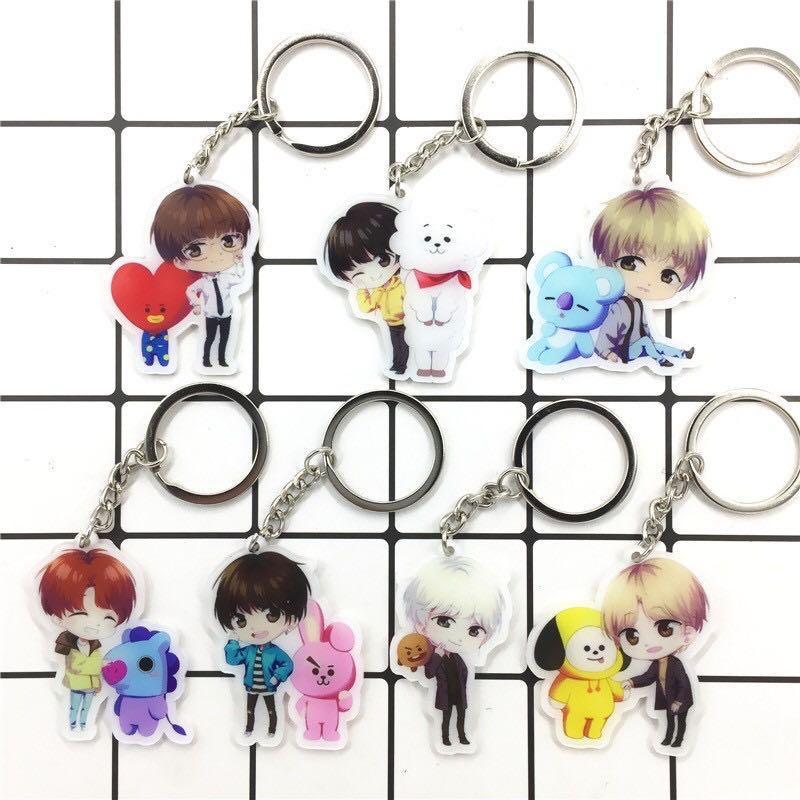 BT21 x BTS Anime / Cartoon Version Acrylic Keychain / Keyring / Pendant