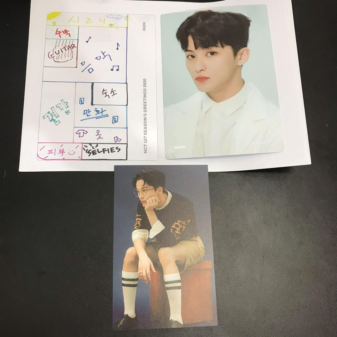 NCT127 MARK SET - SEASONS GREETINGS 2020 OFFICIAL POSTCARD AND ELEMENT CARD