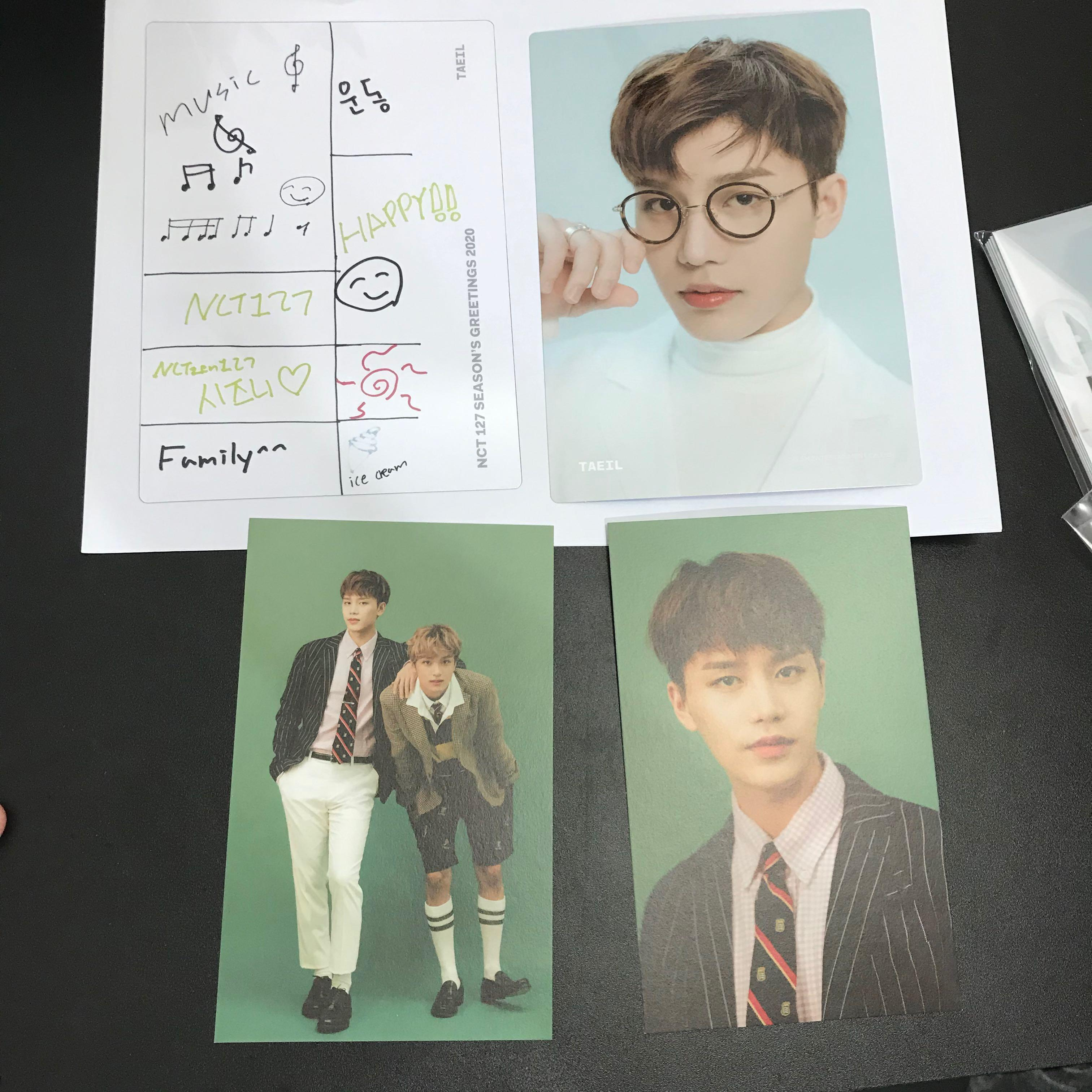NCT127 TAEIL SET - SEASONS GREETINGS 2020 OFFICIAL POSTCARD AND ELEMENT CARD