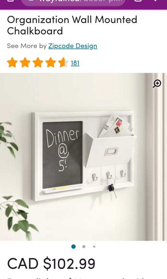 Organization Wall Mounted Chalkboard by Zipcode Design