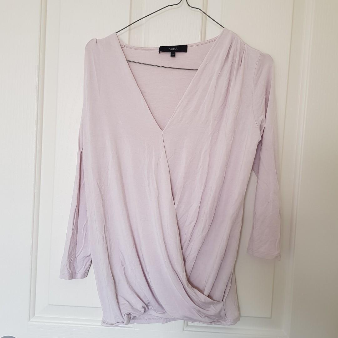SABA Lilac Asymmetric Sleeved Wrap Top Size XXS (fits like an 8)