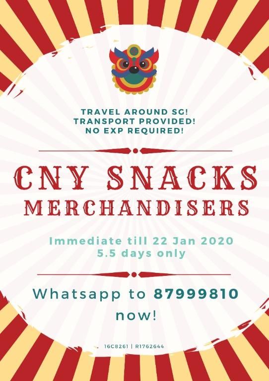 Snacks Merchandisers Assistant @ Islandwide !! Start ASAP!!!