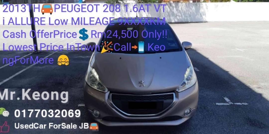 2013TH🚘PEUGEOT 208 1.6AT VTi ALLURE Low MILEAGE 9XXXXKM Cash OfferPrice💲Rm24,500 Only‼Lowest Price InTown🎉Call📲 KeongForMore 🤗