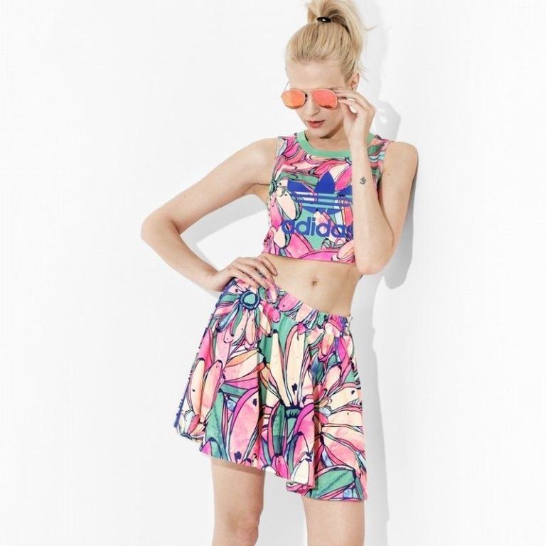 adidas Originals X FARM Banana Print Flared Skirt (AU6, Size S)