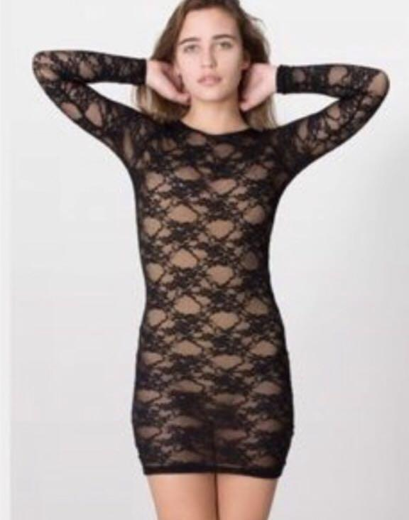 American Apparel Black Lace Long Sleeve Dress Size Small