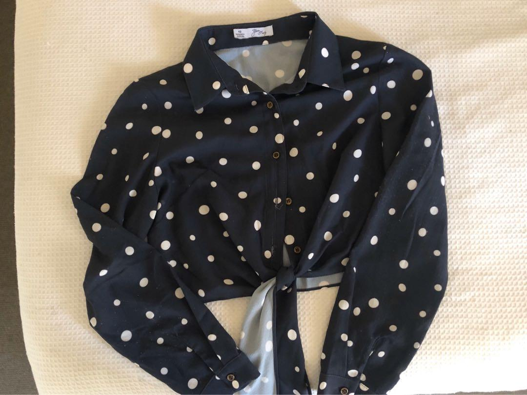 Blue and white polka dot long sleeve tie up crop top size 10