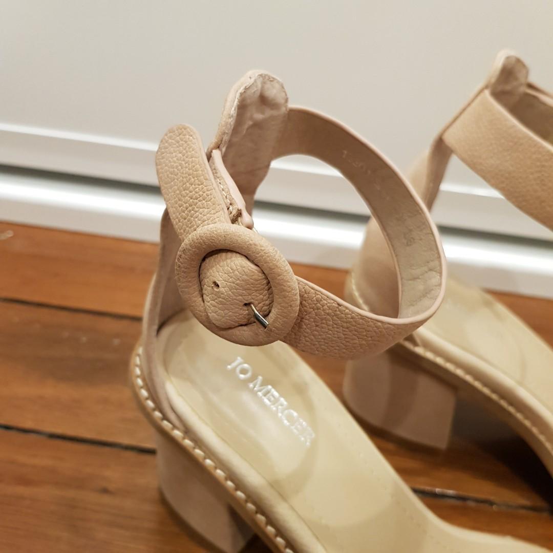 BNIB Jo Mercer Gifa Leather Mid Heeled Sandals in Natural Nubuck Size 7/38
