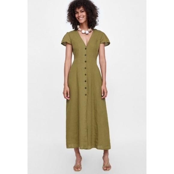 Brand New Zara Long Khaki Olive Green Buttoned Front Linen Maxi Dress with Cap Sleeves