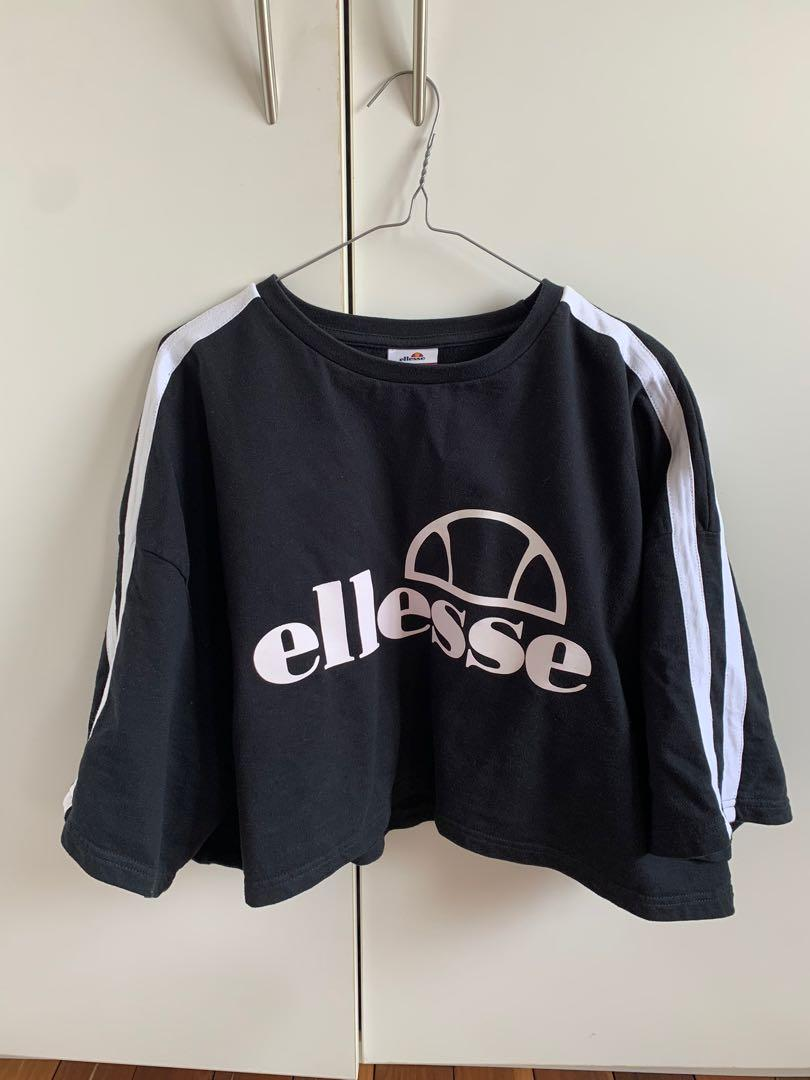Ellesse oversized boxy crop top with striped arm detail size 12
