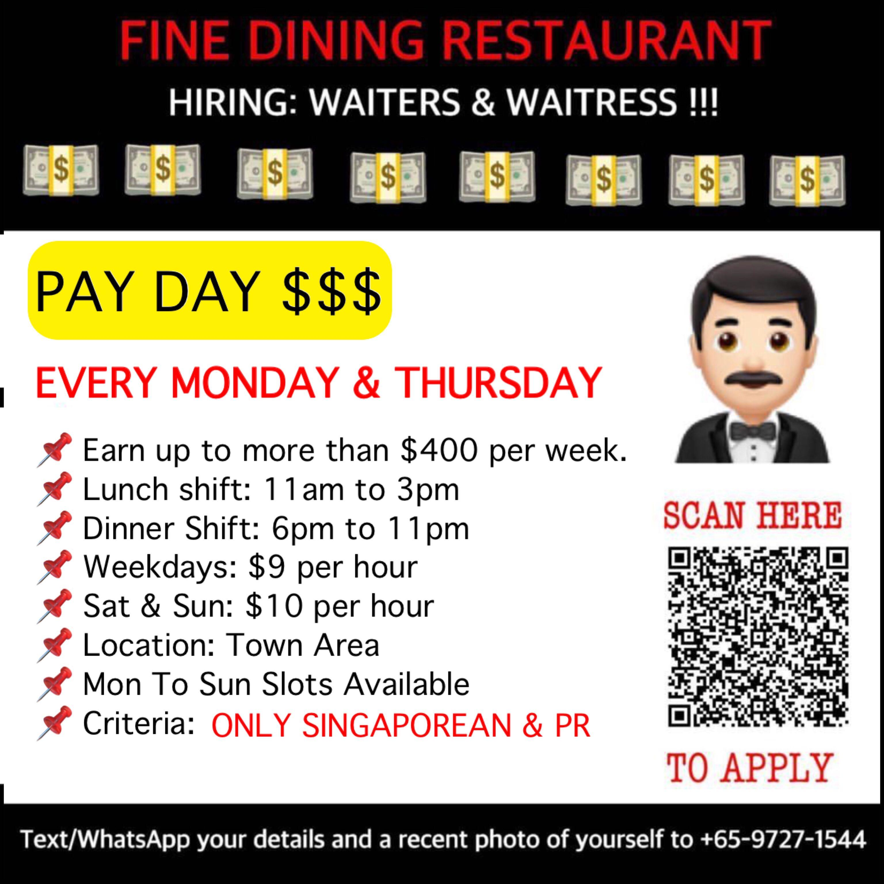 Fine Dining Restaurant [$9 / $10 Per Hour] Weekly Payout