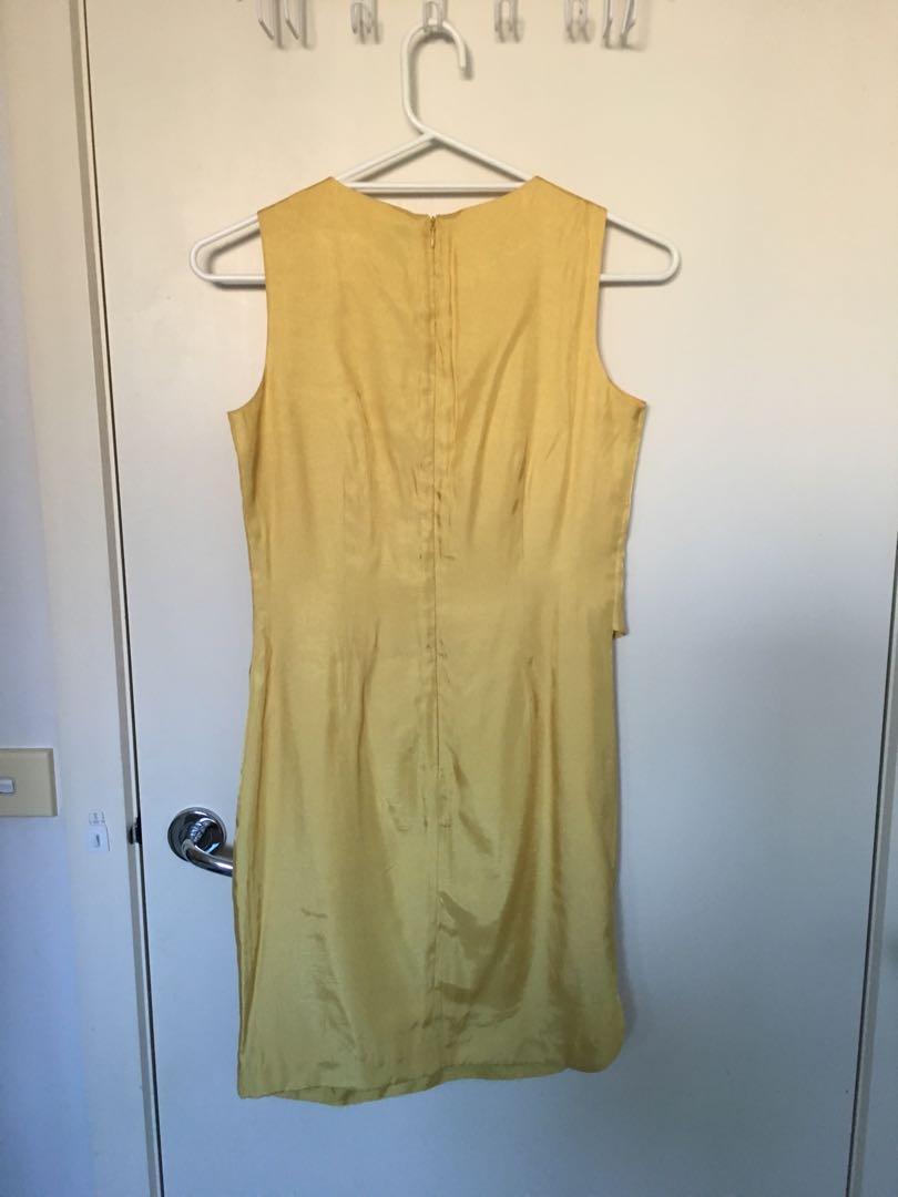 Gold golden yellow satin silk shift occasion dress lver