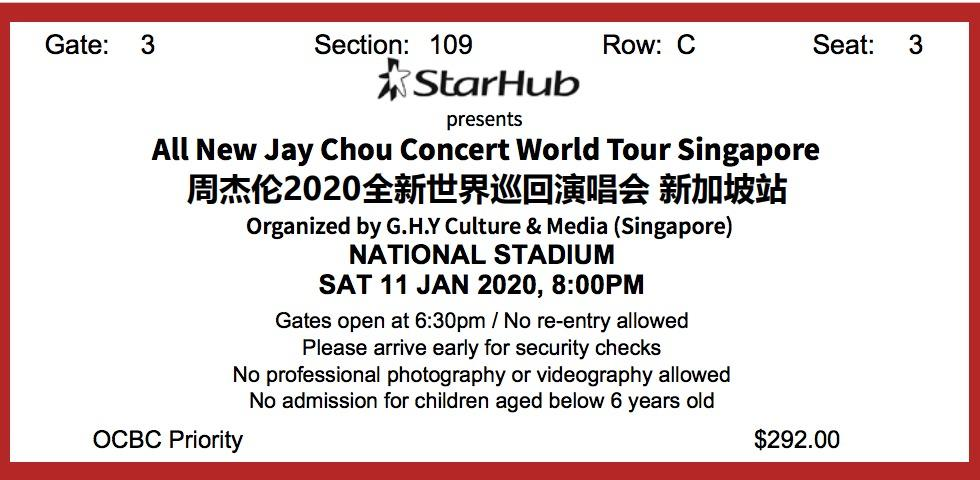 Jay Chou Singapore Concert 2020-01-11 (One Seating Ticket)