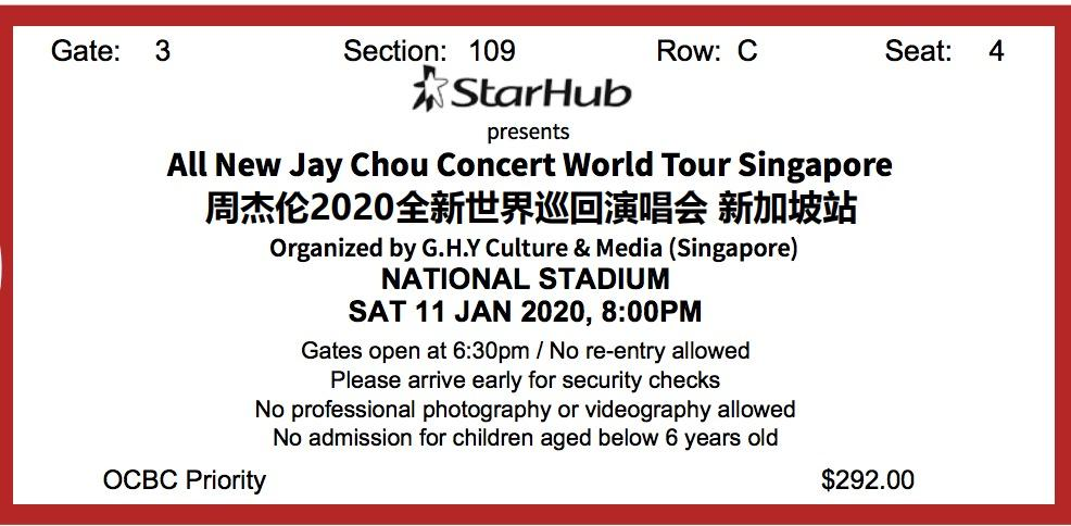 Jay Chou Singapore Concert 2020-01-11(Two Seating Tickets)