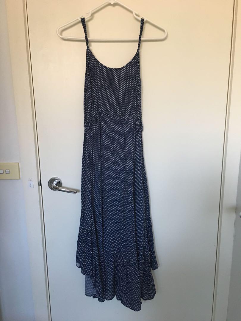 Loverbird polka dot blue navy summer maxi midi dress