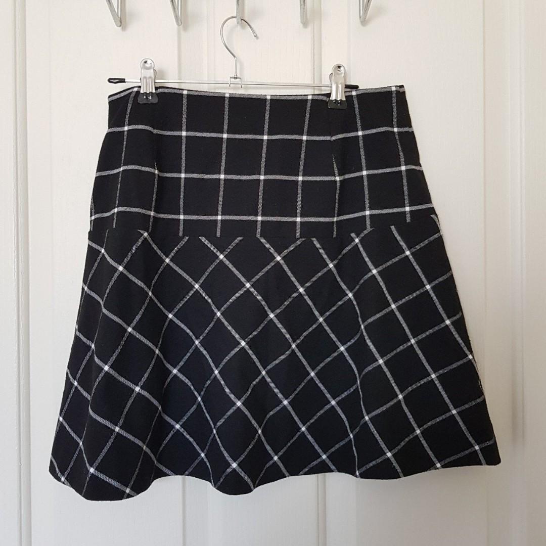 MARCS Black and White Grid/Tartan Print Skirt Size M/10