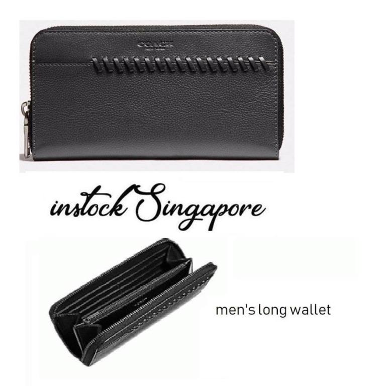 READY STOCK authentic new Coach F21369 Men's Accordion Wallet With Baseball Stitch ACCORDION WALLET WITH BASEBALL STITCH (COACH F21369)