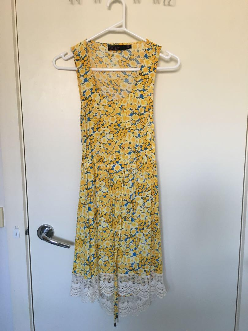 Wish yellow flower floral daisy lace summer dress sundress lacey