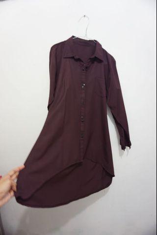 Longsleeve Burgundy Shirt (Kemeja)