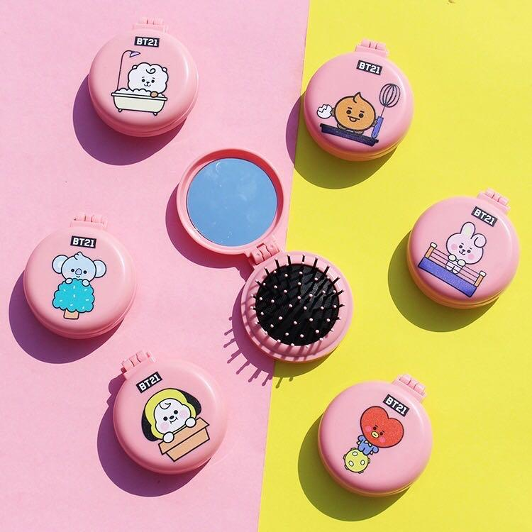 Baby BT21 BTS Portable Folding Makeup Comb and Mirror / Hair Brush