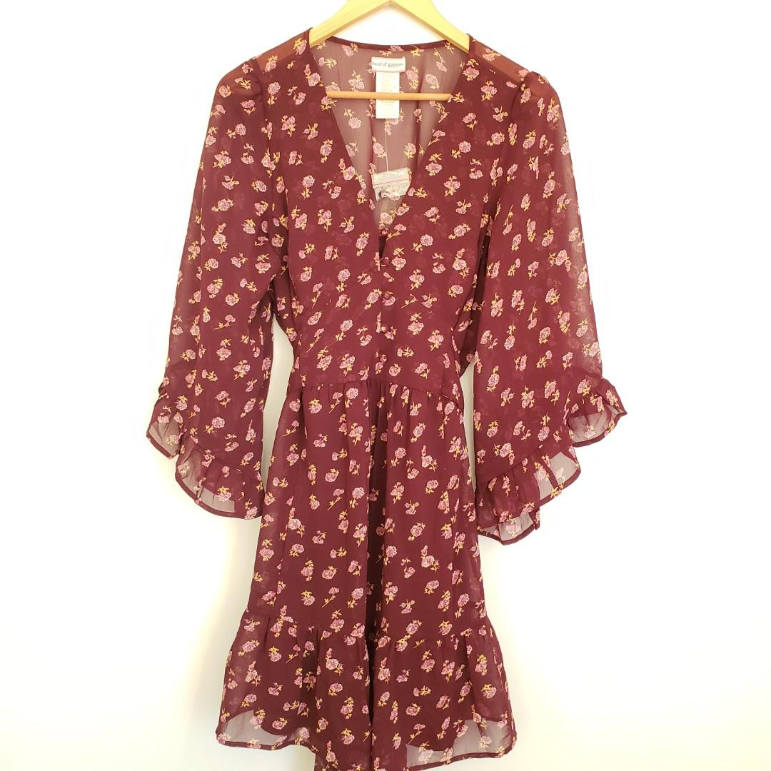 Band of Gypsies Burgundy Floral Print Midi Dress L