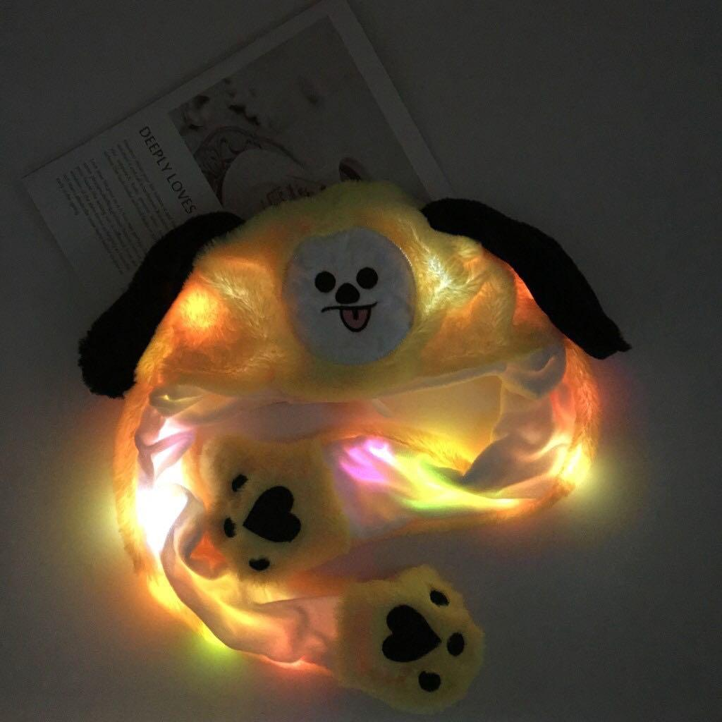 BT21 BTS Kpop Cute Funny Dancing Squeeze Ear Hat / Cap with LED Light