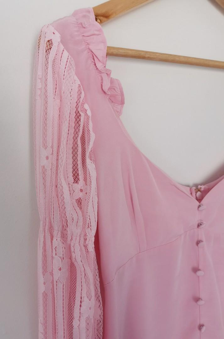 For Love & Lemons Emanuelle Dress in Pink - Size XS RRP $390