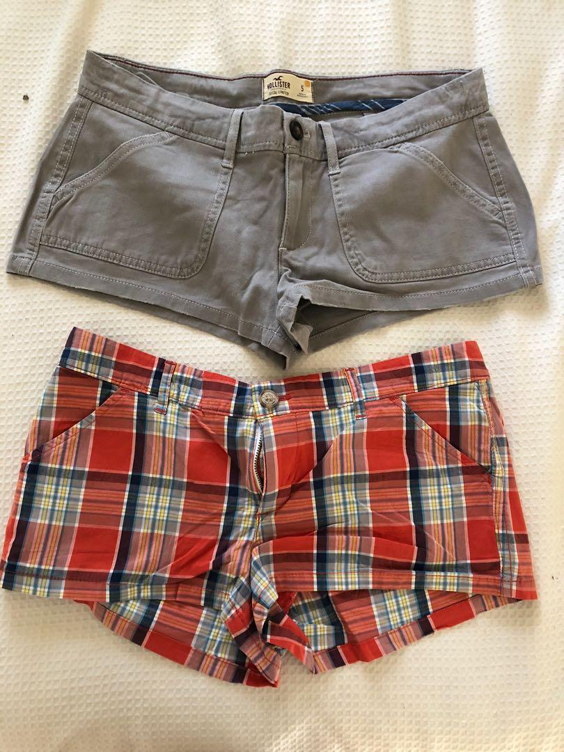 Hollister mini shorts grey/checked size 5 (size 8-10 Aus)