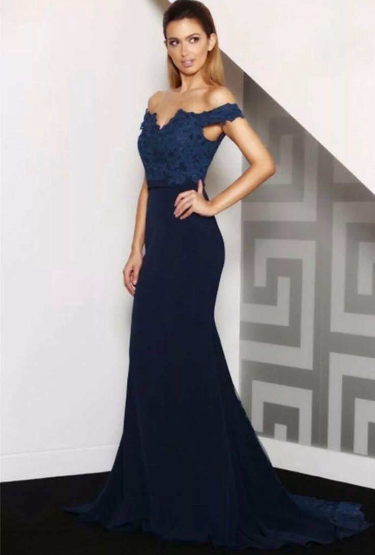 Jadore Blue Off-Shoulder Mermaid Formal Dress / Gown size 6 - RRP $419