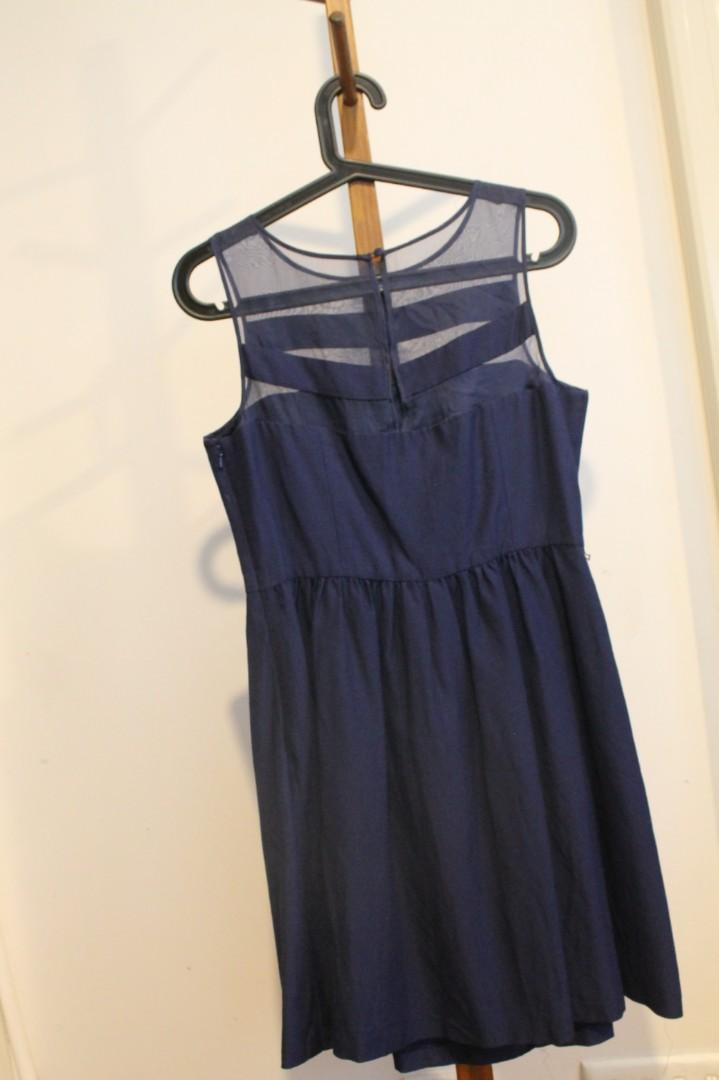 M/12 - Forever New - Navy High Neck Tight Waisted Dress