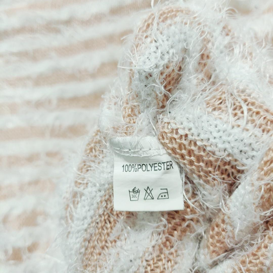 Mink Fluffy Pink and White Striped Lightweight Pullover / Jumper Size M Medium