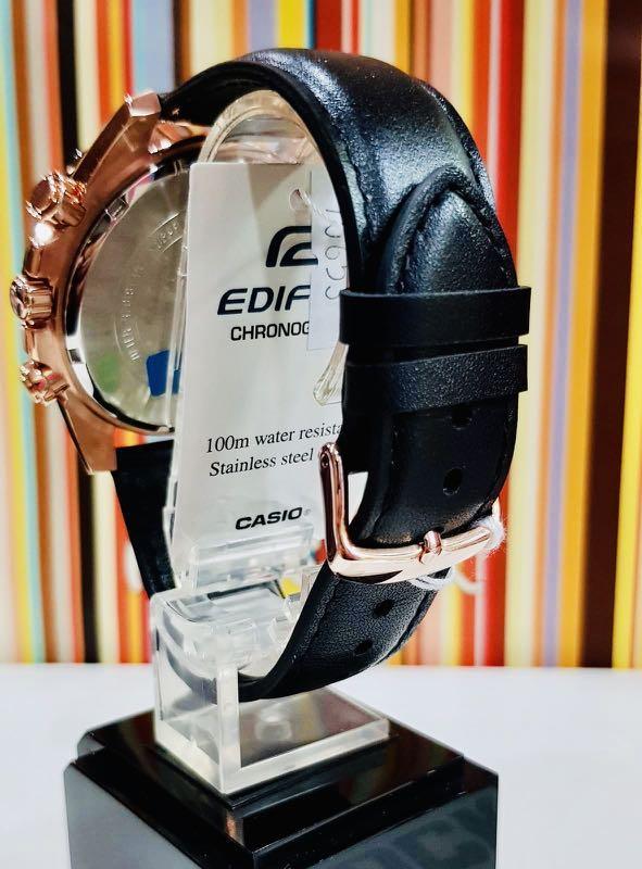 NEW🌟EDIFICE TACHYMETER UNISEX DIVER SPORTS WATCH : 100% ORIGINAL AUTHENTIC CASIO : By G-SHOCK GSTEEL ( GSHOCK ) Company : EFR-559BGL-1AV / EFR-559-BGL-1AV (BLACK ROSE-GOLD)