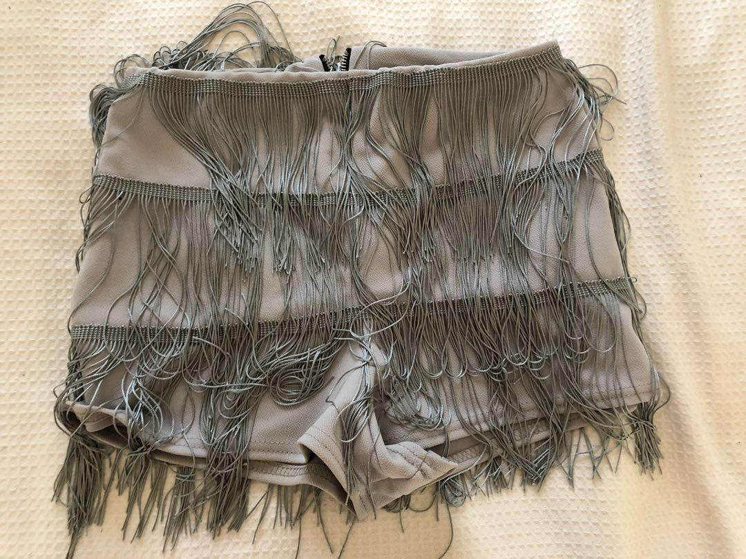 Pretty Little Thing silver/grey tassel fringe festival shorts