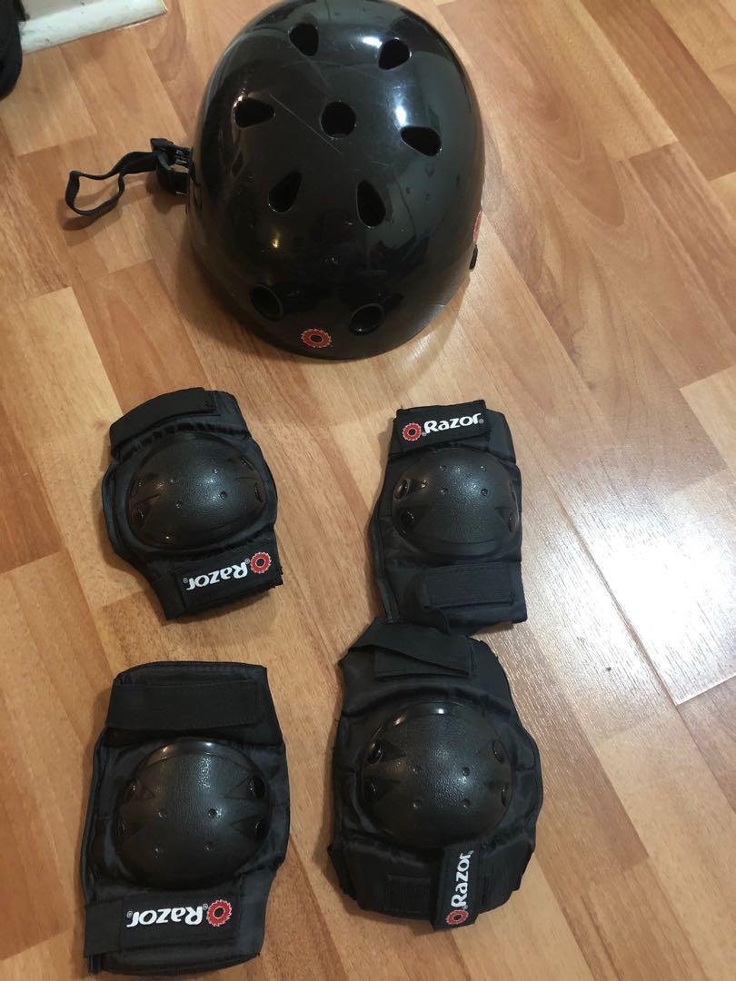 Razor black helmet with elbows/knees pads, Frozen helmet