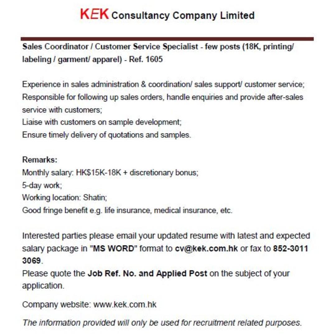 Sales Coordinator / Customer Service Specialist- Ref. 1605