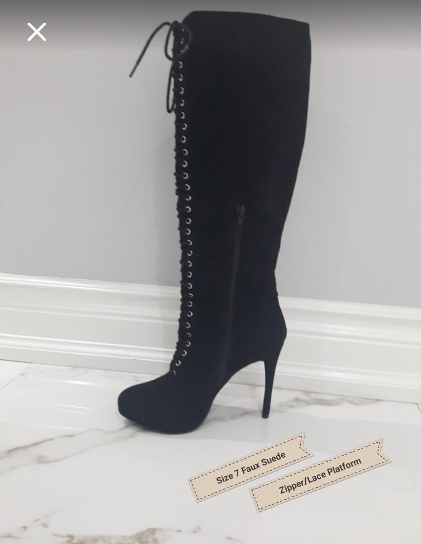SIZE 7 FAUX SUEDE LACE UP & ZIPPER BOOTS WITH WEDGE INTEGRATED PLATFORM