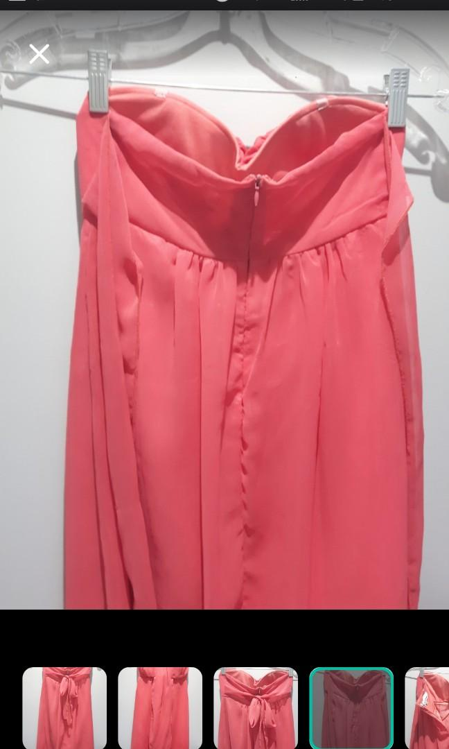 SIZE SMALL CORAL DRESS SWEETHEART FITTED STRAPLESS BUST