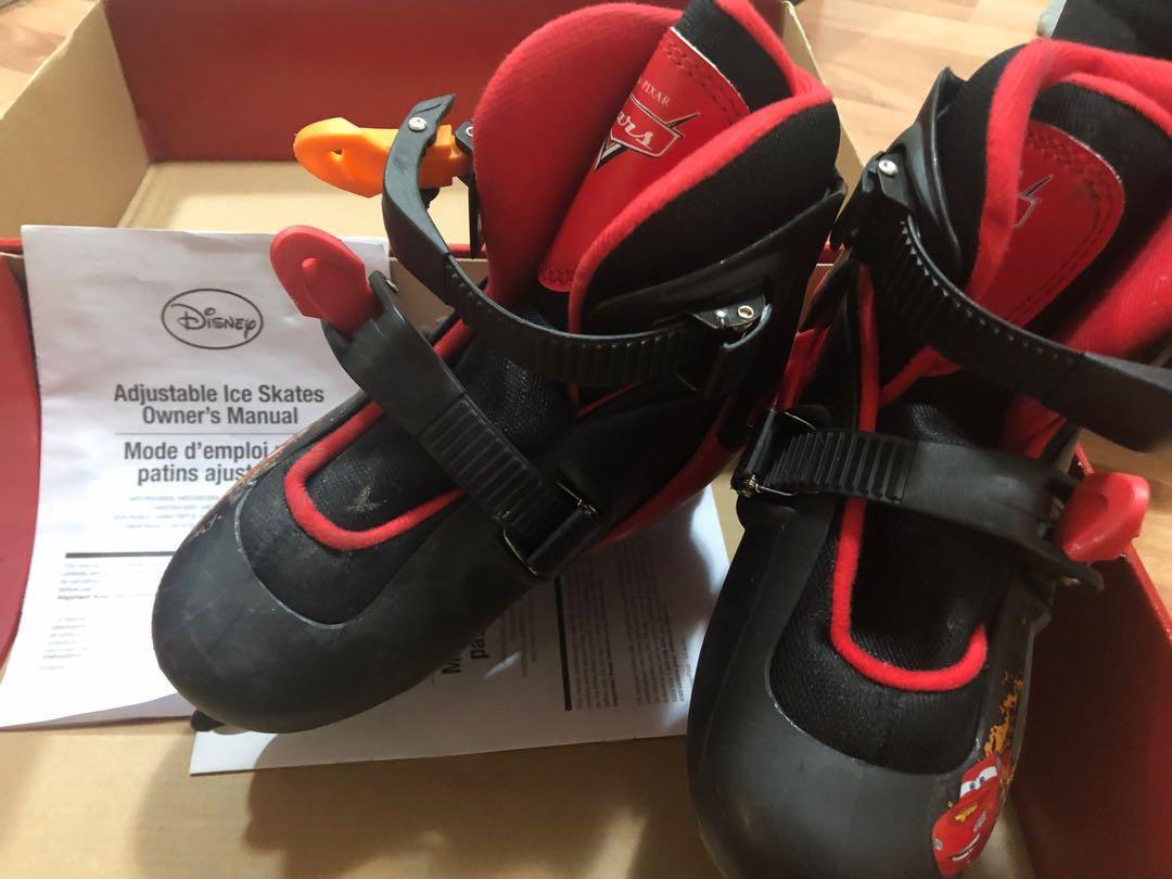 Skates shoes size 5 white, kids cars adjustable size Y12-2, kids Glacier white size 1