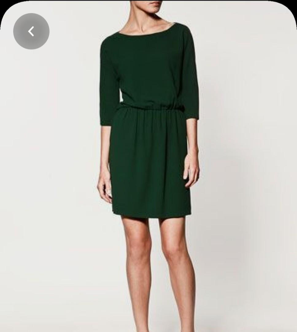 Zara Cold Shoulder Split Sleeve Green Dress Small.