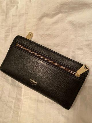 Black and gold fossil wallet leather
