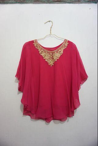 Sale ! Blouse Chiffon Dark Pink | Baju Shifon | Formal |